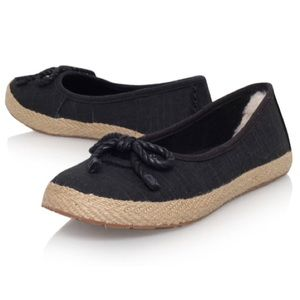 Ugg Black with Gray inner Woven Thread Flats